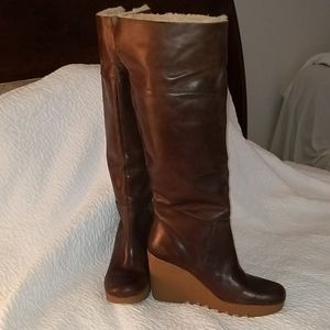 Michael Kors Brown Leather Wedge Boots New